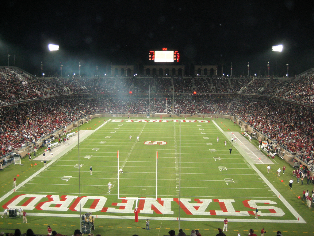 NCAA football home of the Cardinal Stanford Stadium