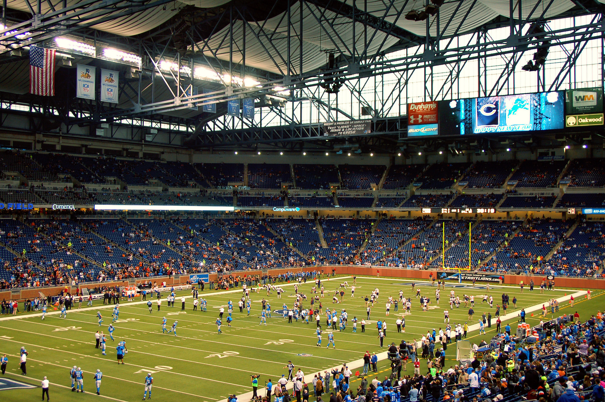 scoreboard at Ford Field Detroit Lions game