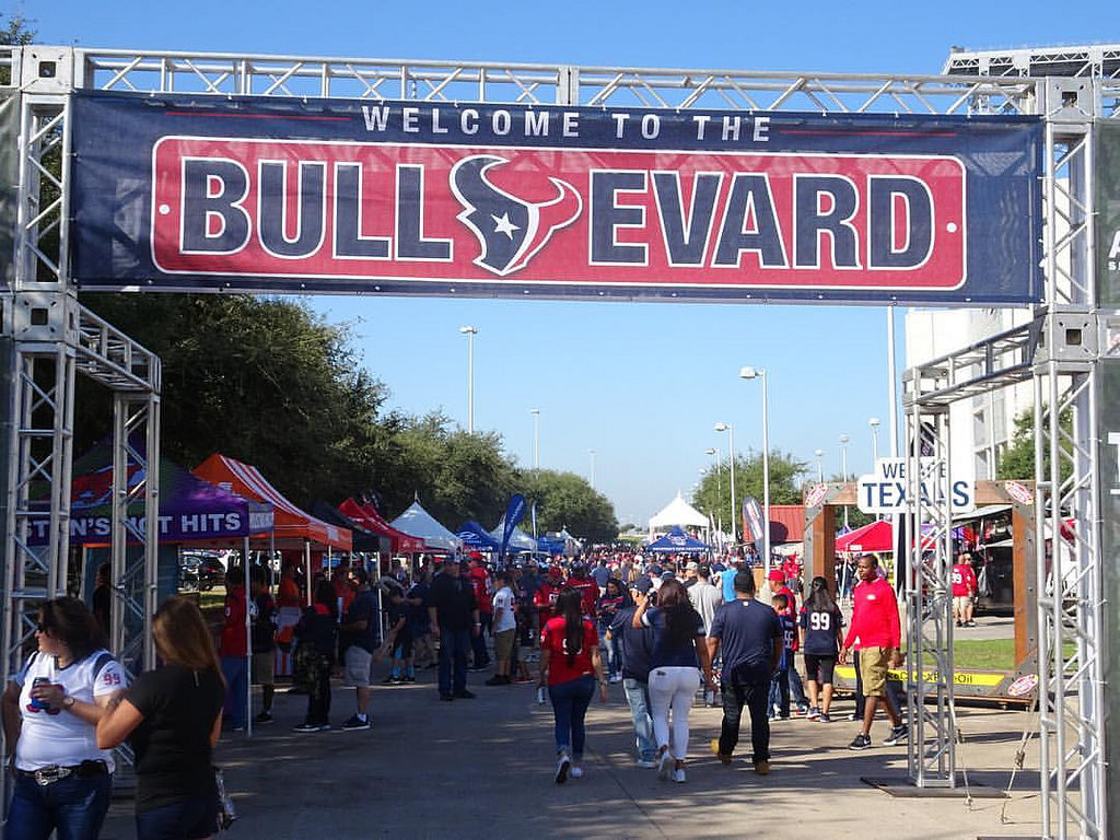 The BULLevard Houston Texans tailgating experience on the south side of NRG Stadium