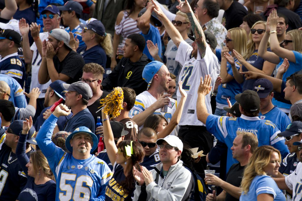 Los Angeles Chargers fans cheering at the game