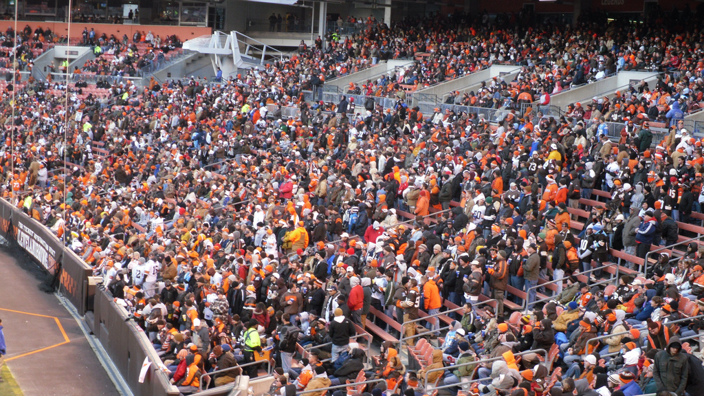 The Dawg Pound located behind the east end zone in FirstEnergy Stadium