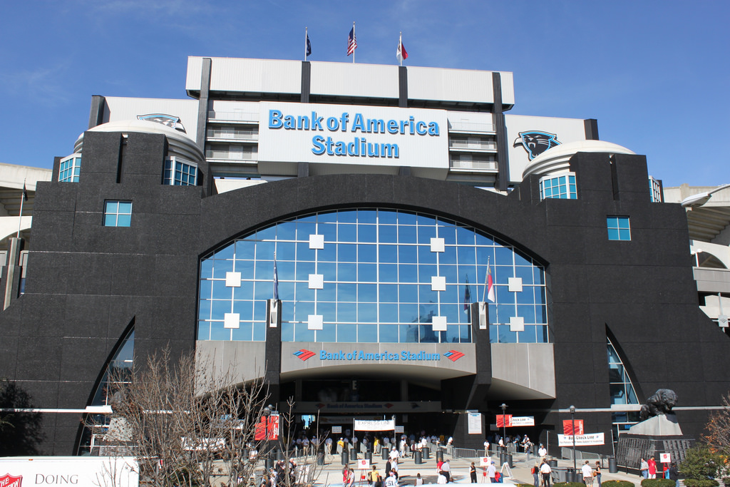 Bank of America Stadium is located in the Uptown area of downtown Charlotte