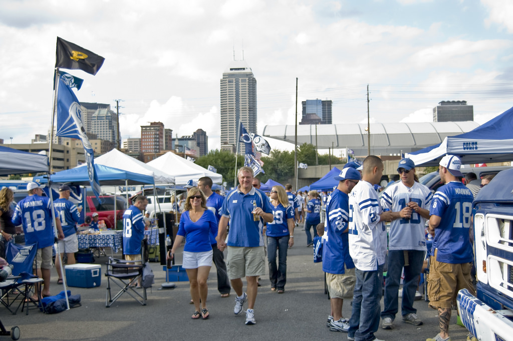 Indianapolis Colts fans at tailgate lot