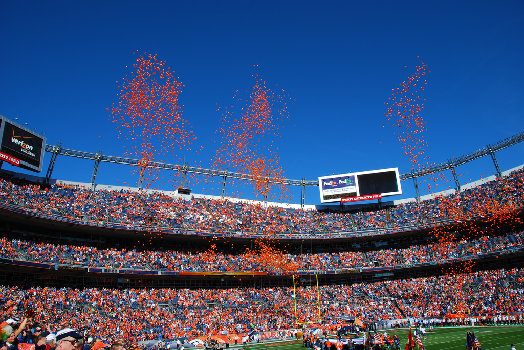 Denver Broncos fans cheering in Empower Field at Mile High