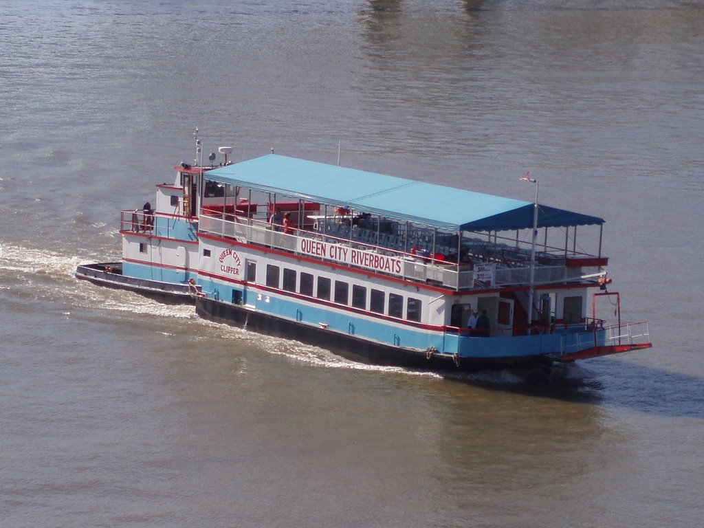 One way to arrive at the game is via the Queen City Riverboat