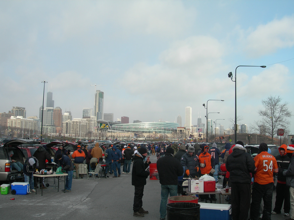 Chicago Bears fans tailgating at the Soldier Field