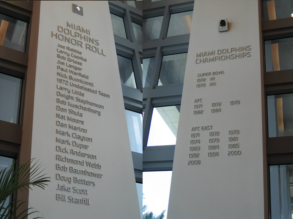 Miami Dolphins Honor Roll in Hard Rock Stadium