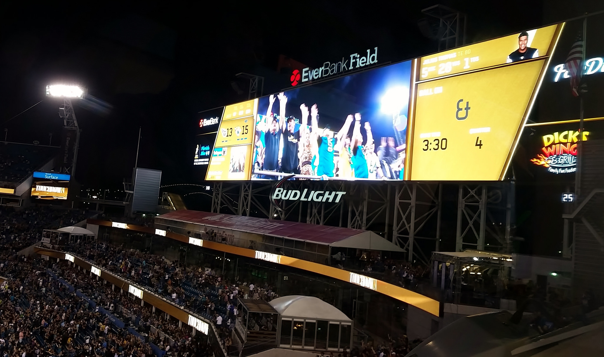 TIAA Bank Field Bud Light for fans at a Jacksonville Jaguars game