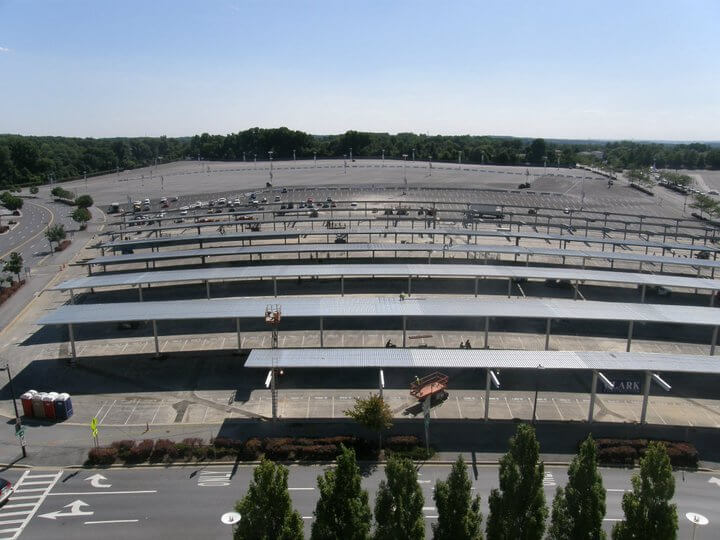Washington Redskins stadium FedExField parking lot solar panels