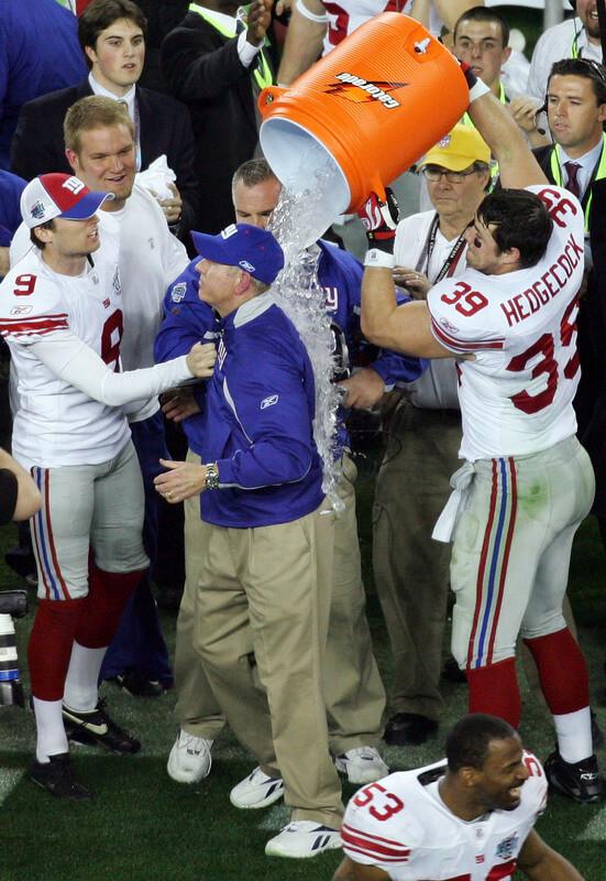 New York Giants players head coach Tom Coughlin gatorade shower bath
