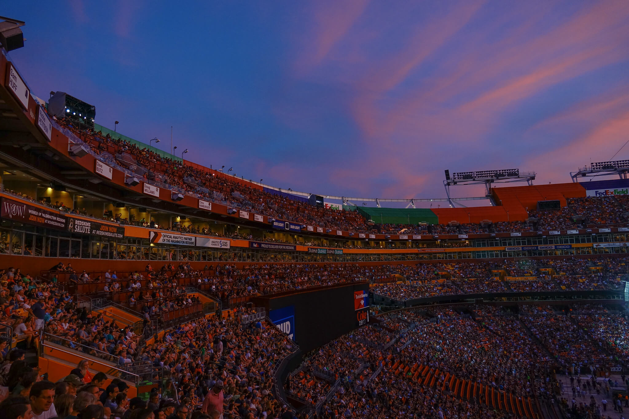 Beautiful sky at FedEx Field home of the Washington Redskins
