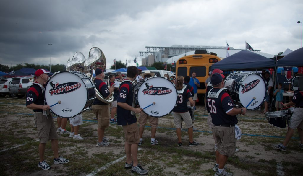 Houston Texans Pep Band performing at tailgate lot