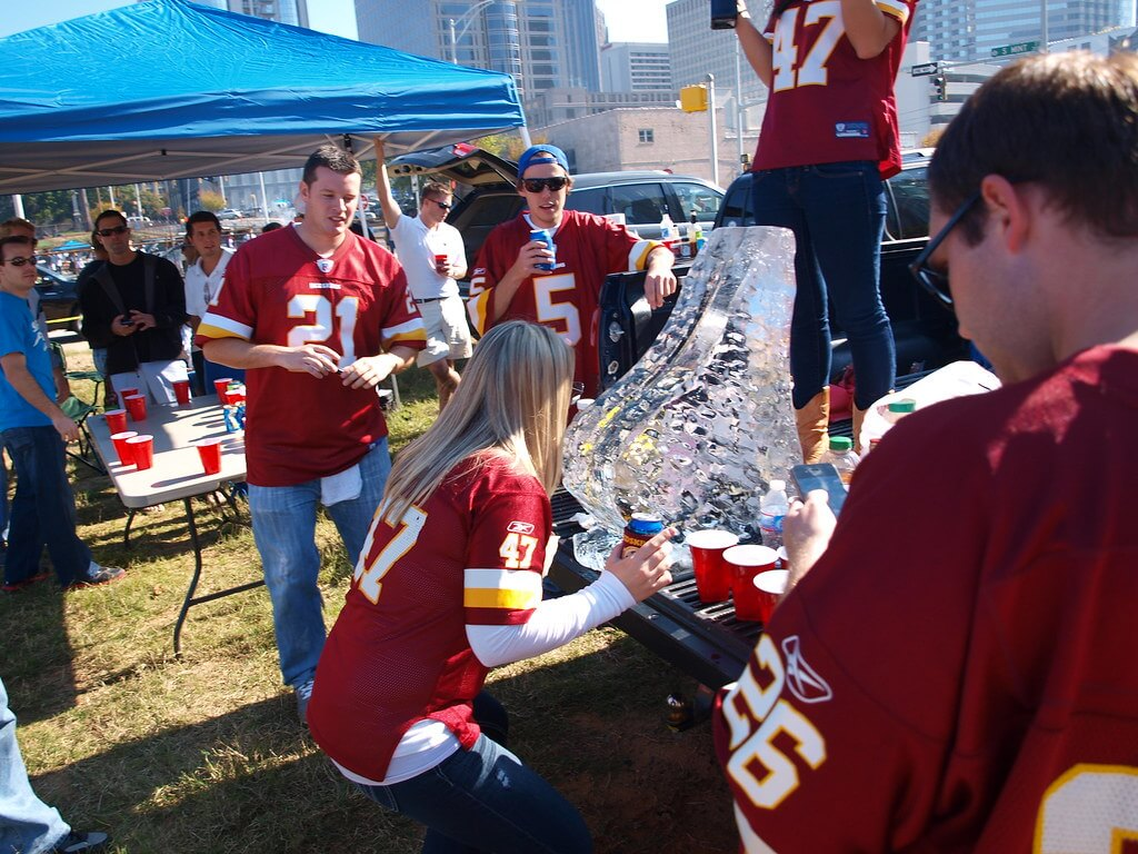 Washington Redskins fans party at tailgate lot