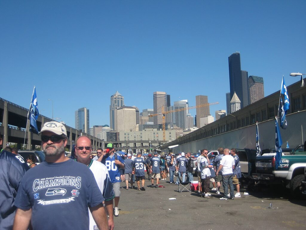 Seattle Seahawks fans tailgating at tailgate lot on game day