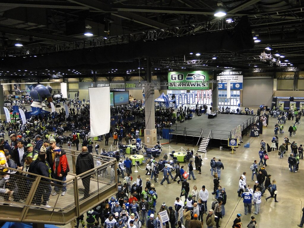 Seattle Seahawks Touchdown City tailgate party inside CenturyLink Field Event Center