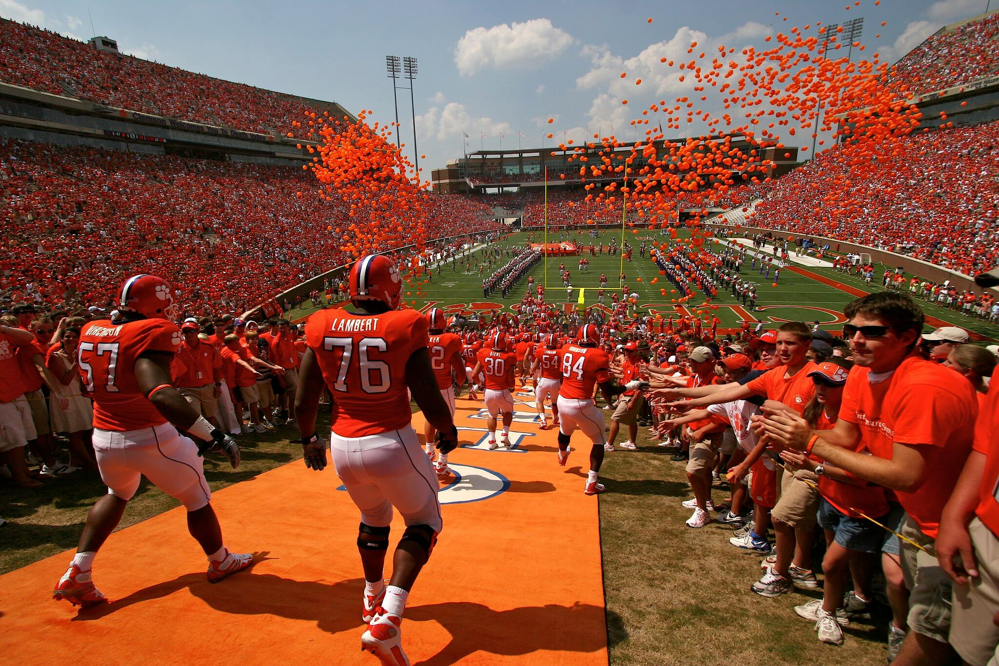 Clemson Tigers Running Down the Hill rivalry