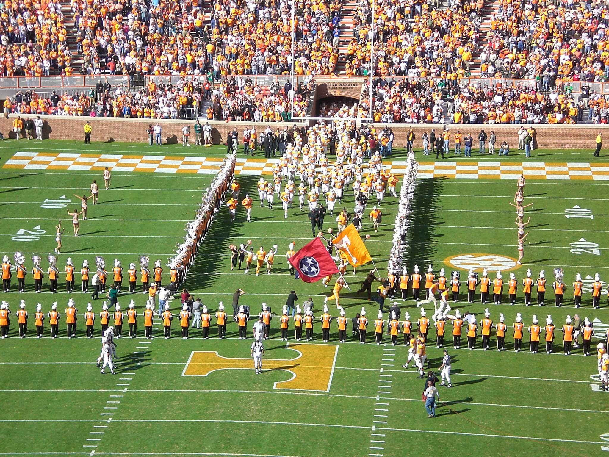 Tennessee Volunteers Running through the T