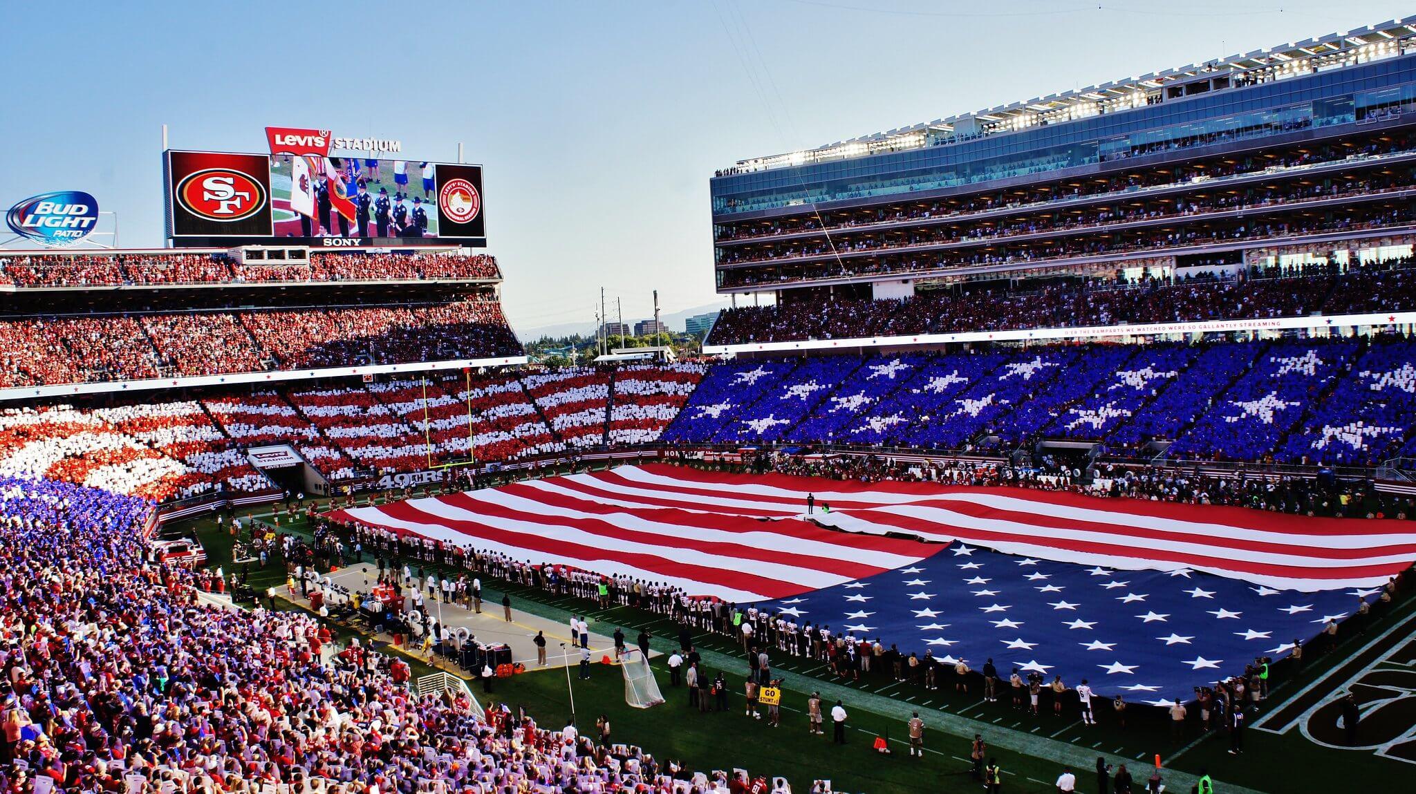 Levis Stadium football game US flag