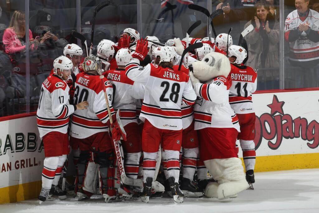 AHL Charlotte Checkers celebrate win